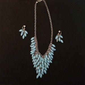 Silver Tone Blue Drops Necklace Earrings